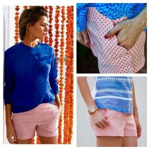 J. Crew Scallop Pocket Polka Dot Shorts
